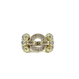 Lagos 18K Yellow Gold, Sterling Silver Caviar Diamond Circle Game Ring Size 6.5