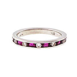 Platinum Ruby & Diamond Wedding Band Size 6