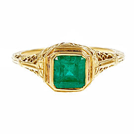 Vintage 18K Yellow Gold 0.75ct Emerald Filigree Ring Size 6.25