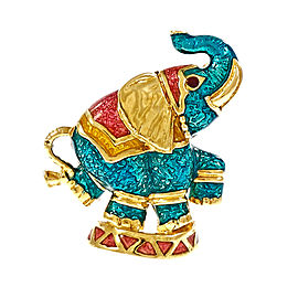 Hidalgo Elephant 18K Yellow Gold Multi Color Enamel Brooch