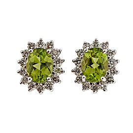 14K White Gold 2.75ct Peridot & 0.65ct Diamond Oval Earrings