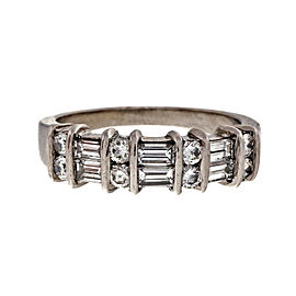 Platinum 0.55ct Diamond Bar Set Band Ring Size 6.75