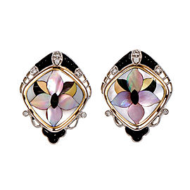 Asch Grossbardt 14K Yellow and White Gold Mother of Pearl Carved Onyx & Diamond Earrings