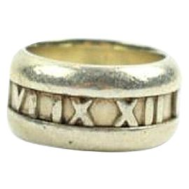 Tiffany & Co. 925 Sterling Silver Atlas Roman Numeral Ring Size 5