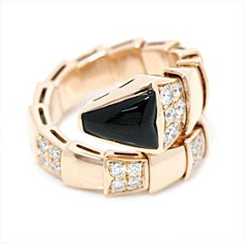 BVLGARI 18K pink gold Serpenti Viper Onyx Diamond Ring