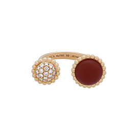 Van Cleef & Arpels 18K Rose Gold Perlee Couleurs Carnelian Diamond Ring Size 6