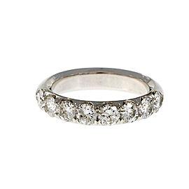 Platinum Groove Set Diamond Wedding Band Ring Size 6