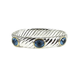 David Yurman 925 Sterling Silver & 18K Yellow Gold Blue Topaz Sculpted Cable Bracelet