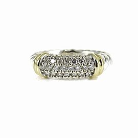 David Yurman 18K Yellow Gold Sterling Silver Thin Pave Diamond Metro Band Size 5