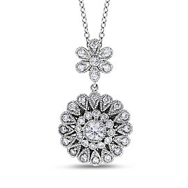 14k White Gold 0.72 Ct. Natural Diamond Flower Floral Filigree Design Pendant