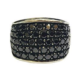 David Yurman Sterling Silver with 3.83ct. Black Diamond Ring Size 10
