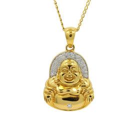 Buddha Mama 20K Yellow Gold & Diamonds Happy Buddha Halo Pendent Necklace