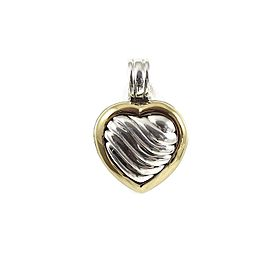 David Yurman Sterling Silver 18K Yellow Gold Carved Cable Heart Locket Enhancer