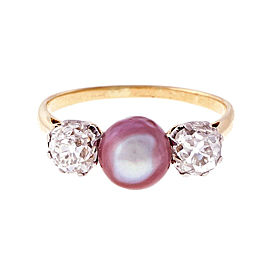Vintage 18K White Gold & Yellow Gold Purple Pink Pearl & 1.20ct Diamond Ring Size 7.75