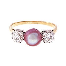 Vintage 18K White Gold & Yellow Gold Purple Pink Pearl & 1.20ct Diamond Ring Size 7.75