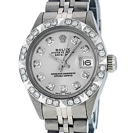 Rolex Datejust Stainless Steel & 18K White Gold Silver Diamond Dial 26mm Womens Watch
