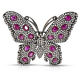 BRAND NEW IGL Certified Diamond & Ruby Butterfly Brooch in 18k WG (6.25 CTW)