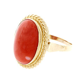Vintage 18K & 14K Yellow Gold Red Orange Coral Ring Size 6