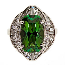 Platinum with 4.11ct Green Tourmaline and 1.27ct Diamond Ring Size 6