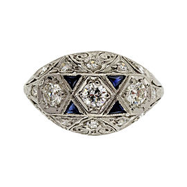 Platinum with 0.70ct Diamond and Sapphire Art Deco Dome Ring Size 7.75