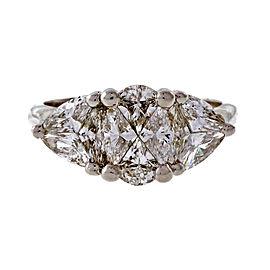 Estate Custom Cut 3 Stone 1.20ct 14k White Gold Diamond Ring Oval Trilliant Shape