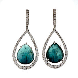 14K White Gold 15.84ct Blue Tourmaline & 1.50ct Diamond Dangle Earrings