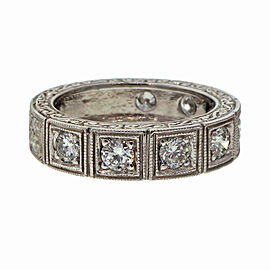Peter Suchy Platinum Diamond Art Deco Style Wedding Band Ring Size 6.75