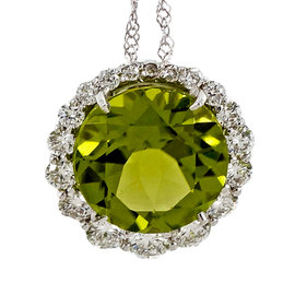 18K White Gold with 3.00ct Fine Green Peridot & Halo Diamond Pendant Necklace