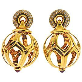 Bulgari Diamond Ruby Gold Ball Drop Earrings