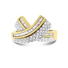 14k Yellow Gold 0.50 Ct. Natural Diamond Crossover Fancy Baguette & Round Ring Size 9.25