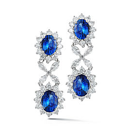 TAKAT 02776 18k White Gold F-G VS 3.16cts Sapphire 6.13cts Earrings