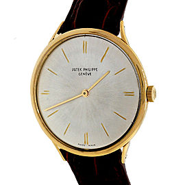 Patek Philippe Calatrava 3484 Yellow Gold & Leather Manual 34mm Mens Watch 1960's