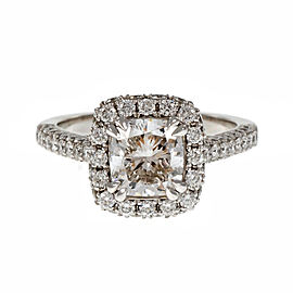 Platinum Cushion Cut Diamond Halo Engagement Ring Size 6.5