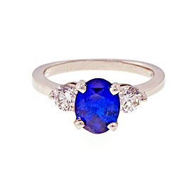 Platinum with 1.66ct Blue Sapphire and Diamonds Ring Size 6