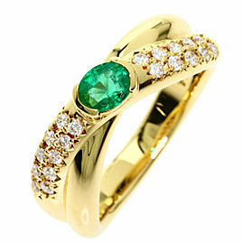 TASAKI 18K Yellow Gold Emerald Diamond Ring TNN-2041