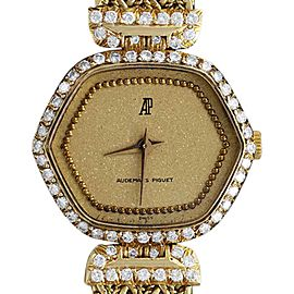 Audemars Piguet 18K Yellow Gold Diamond 27mm Womens Bracelet Watch
