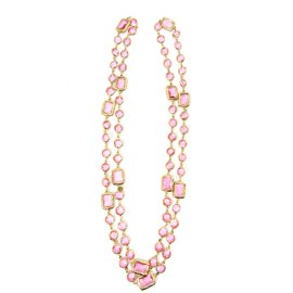 Chanel Gold Tone Hardware with Pink Crystal Vintage Sautoir Necklace