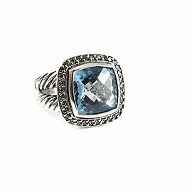 David Yurman Albion Sterling Silver Topaz 0.24ctw Diamond Ring Size 6