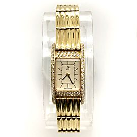 AUDEMARS PIGUET Quartz 18K Yellow Gold Watch FACTORY Diamonds