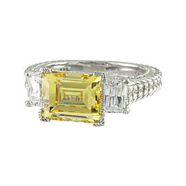 Judith Ripka 925 Sterling Silver with Yellow Cubic Zirconia Ring Size 10