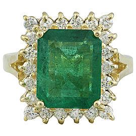 5.16 Carat Emerald 14K Yellow Gold Diamond Ring