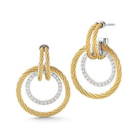18K White Gold 2mm Yellow Cable and Stainless Steel 0.49ct Diamond Earring