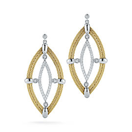 18K White Gold and Stainless Steel 2 Row Yellow Cable and 0.44ct Diamond Earrings