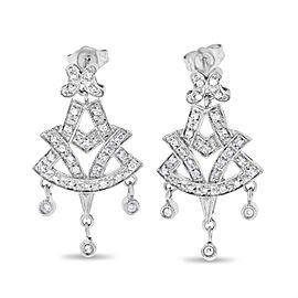 14k White Gold 0.43 Ct. Natural Diamond Dangling Drop Dressy Earrings