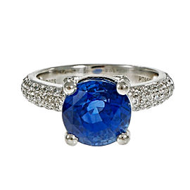 Platinum Blue Sapphire and Diamond Engagement Ring Size 6.75