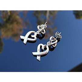 Tiffany & Co Silver RARE Picasso Loving Heart Dangle Dangling Earring