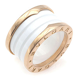 BVLGARI 18K Pink Gold B.zero1 4-band ceramic Ring CHAT-945