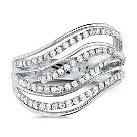 BRAND NEW Crossover Diamond Ring in 14K White Gold (0.74 CTW)