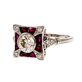 Platinum European Cut Diamond Calibré Ruby Ring Size 7