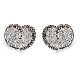 Brown & White Diamond Heart Earrings in 18KT White Gold 7.00 ctw
